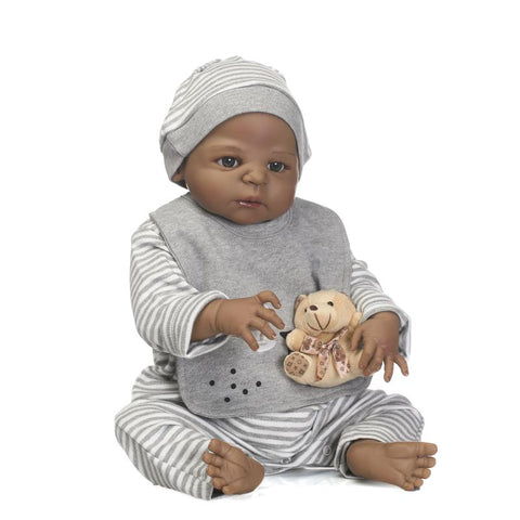 22 inch Black Cute Truly Newborn African American Baby Dolls Silicone Vinyl Full Body Washable for boy