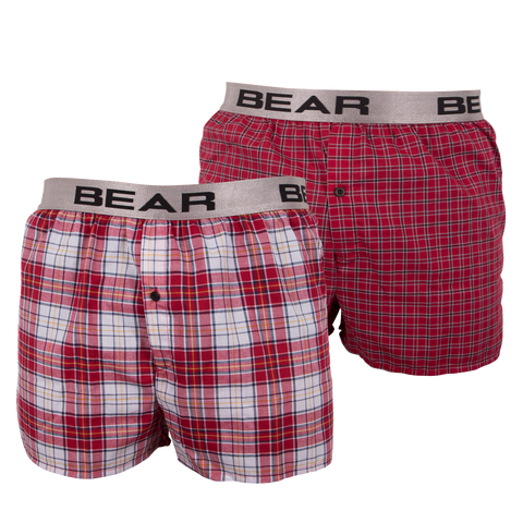 2 pack woven boxers with yarn dye print