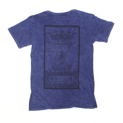 Mens Good Vibes Ship Navy Acid Tee