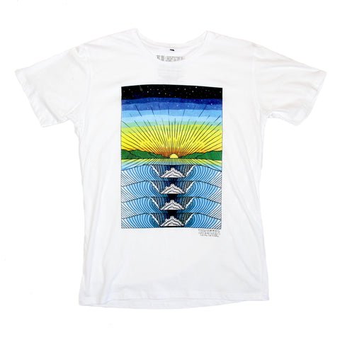 Mens Rolling Wave Tee White
