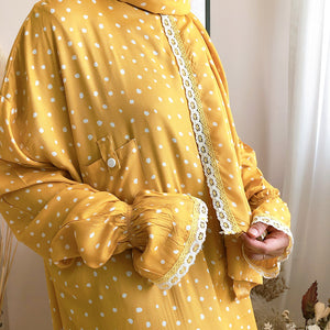 Open image in slideshow, bynfitri polka dot mustard raudah prayer robe