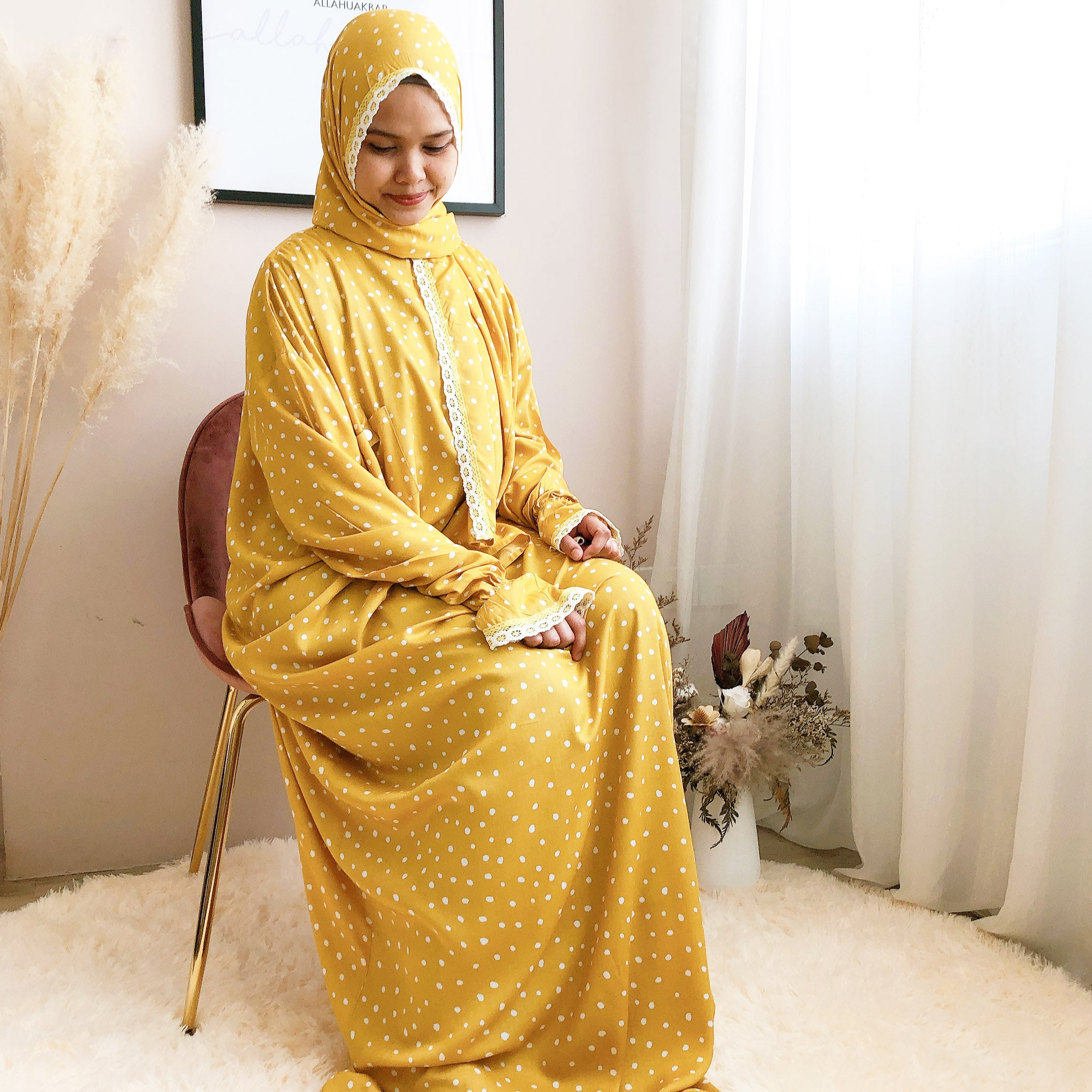 bynfitri polka dot mustard raudah prayer robe