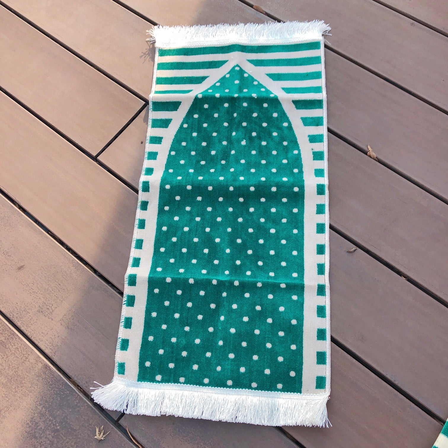 Toddler prayer rug in green