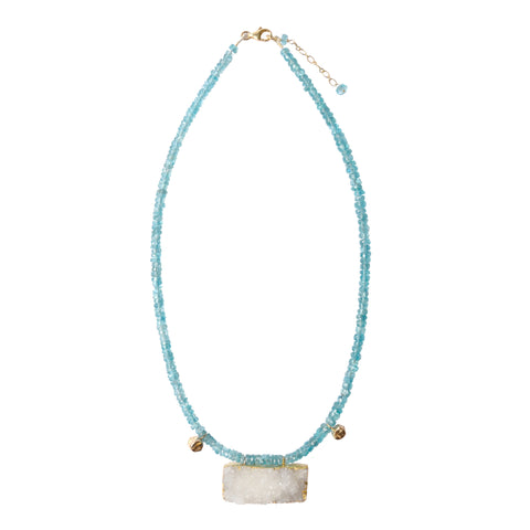 Faceted Apatite & Rough Quartz Necklace
