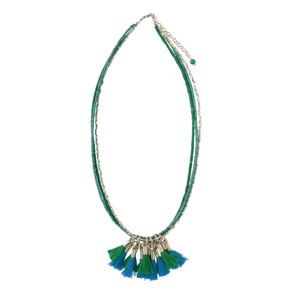 Blue Tassel  Silver Necklace