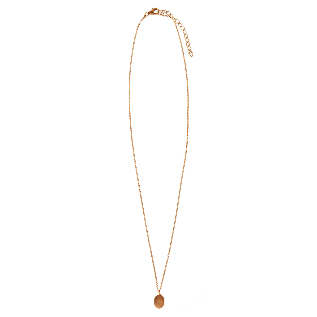 Oval Pendant Necklace - Gold Plated