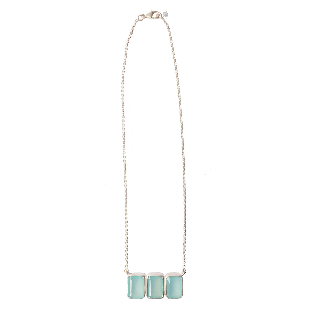 Bar Necklace - Aqua Chalcedony