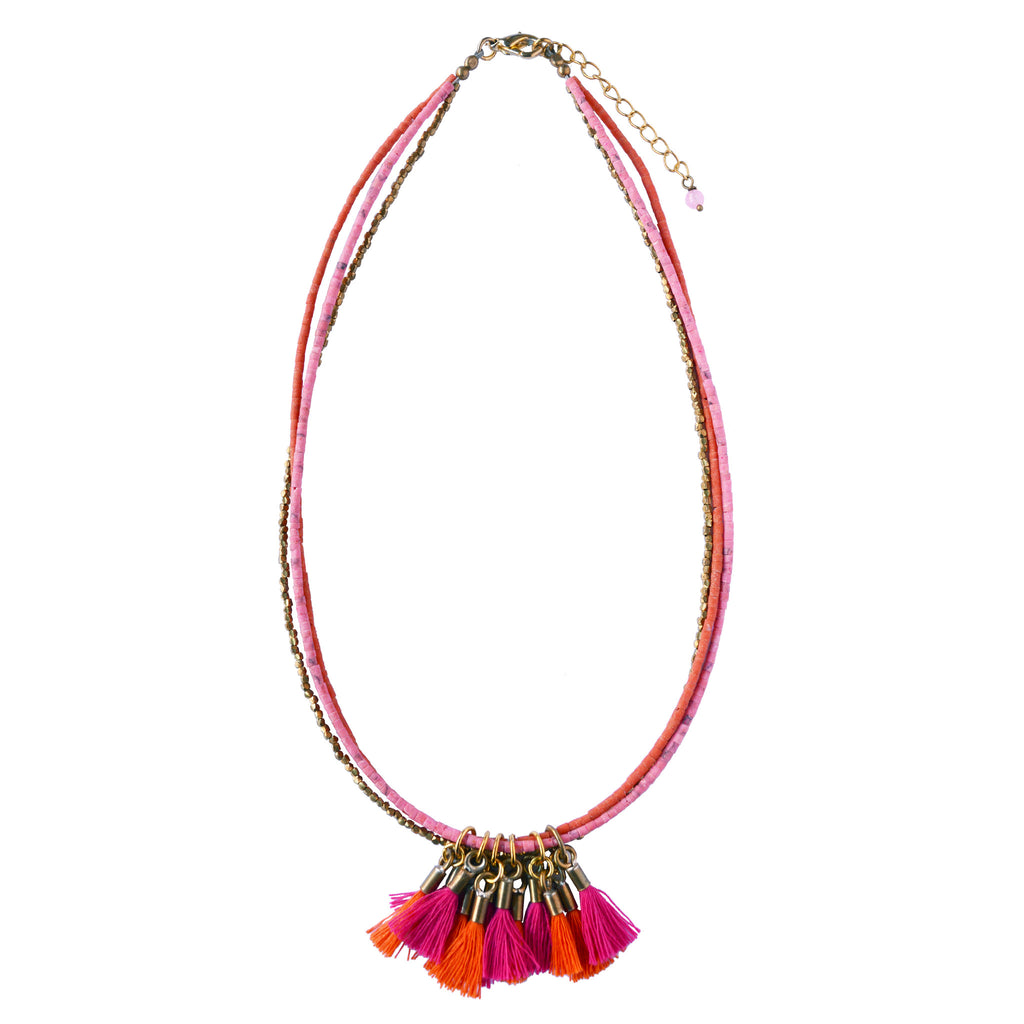 Pink Tassel  Brass Necklace