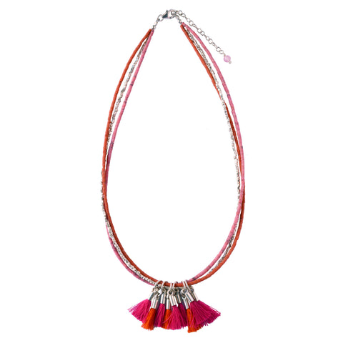 Pink Tassel  Silver Necklace