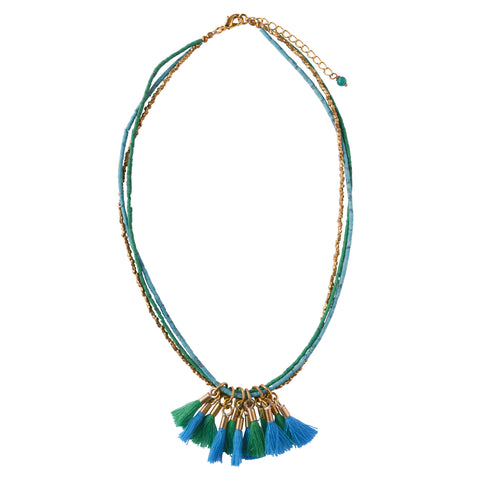 Blue Tassel  Brass Necklace