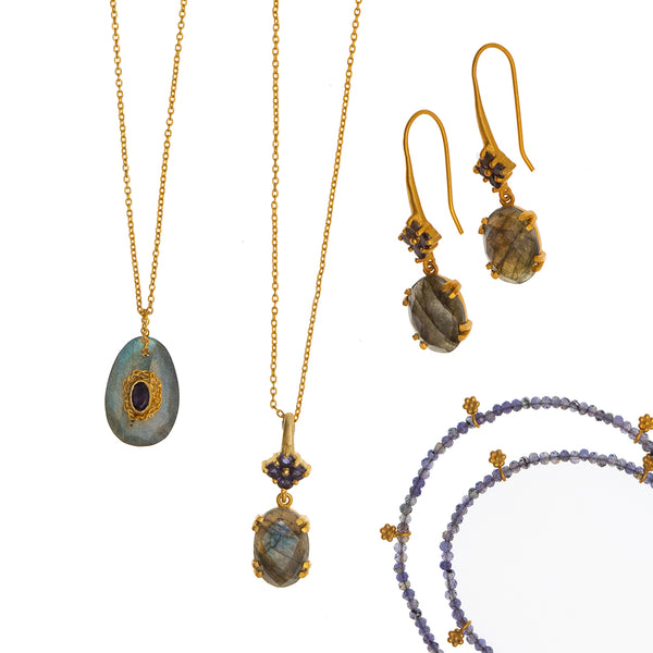 Labradorite & Iolite Gold Pendant Necklace