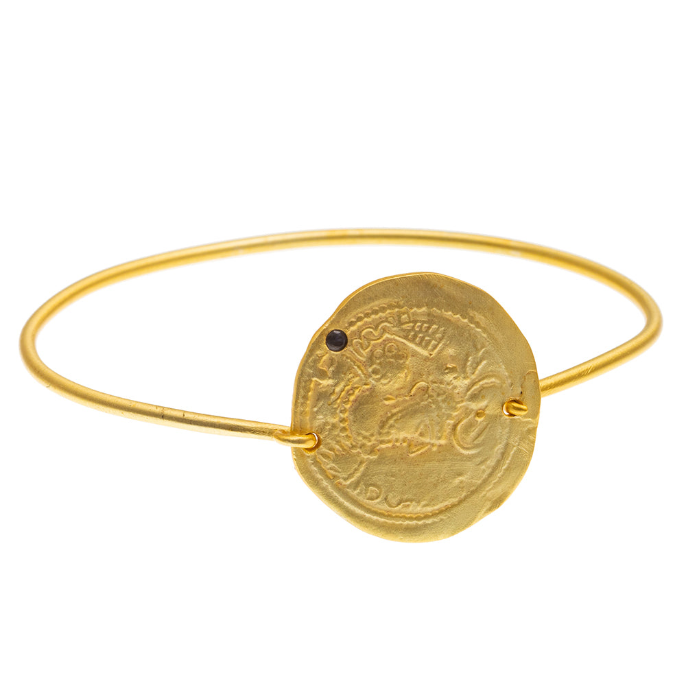 Gold plate Iolite coin Bangle - SOLD OUT