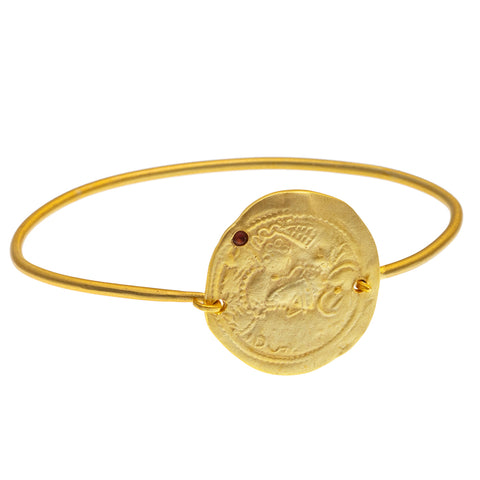 Gold plate Pink Tourmaline coin Bangle