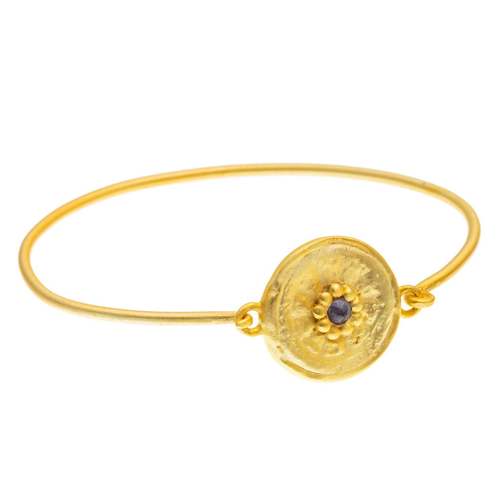 Gold plate Iolite round beaten Bangle