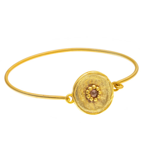 Gold plate Pink Tourmaline round beaten Bangle