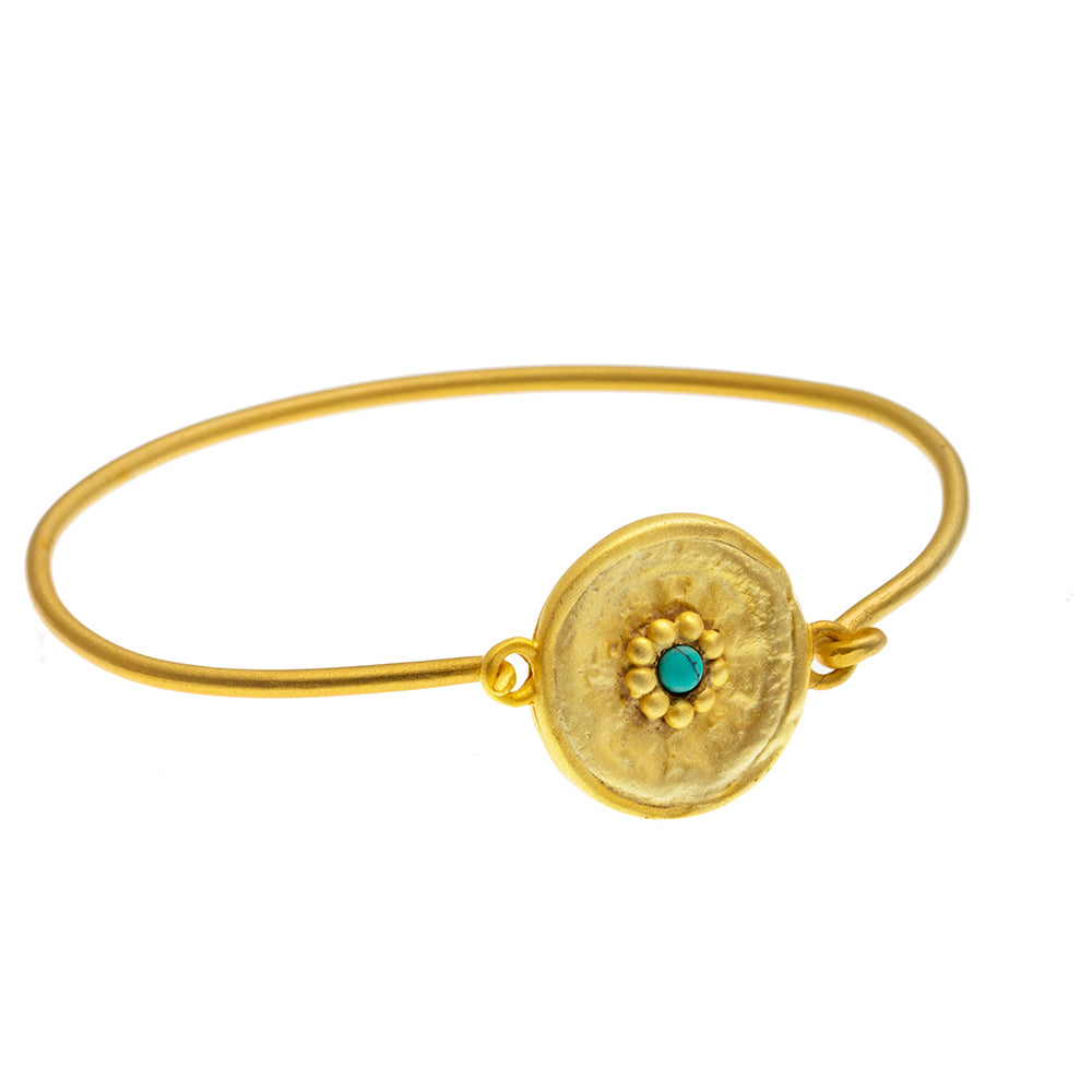 Gold plate Turquoise round beaten Bangle - SOLD OUT