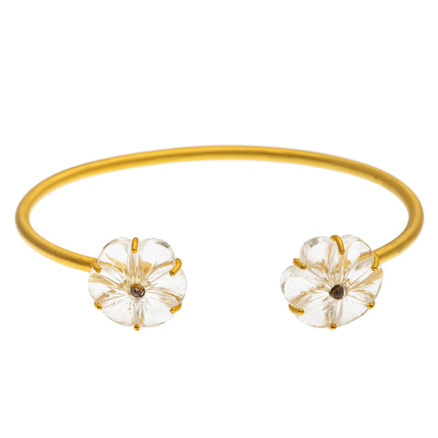 Gold plate Carved Clear Quartz Flower Bangle