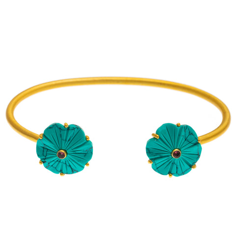 Gold plate Carved Turquoise Flower Bangle
