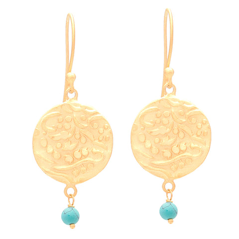 Gold plated Coin Earrings with Turquoise