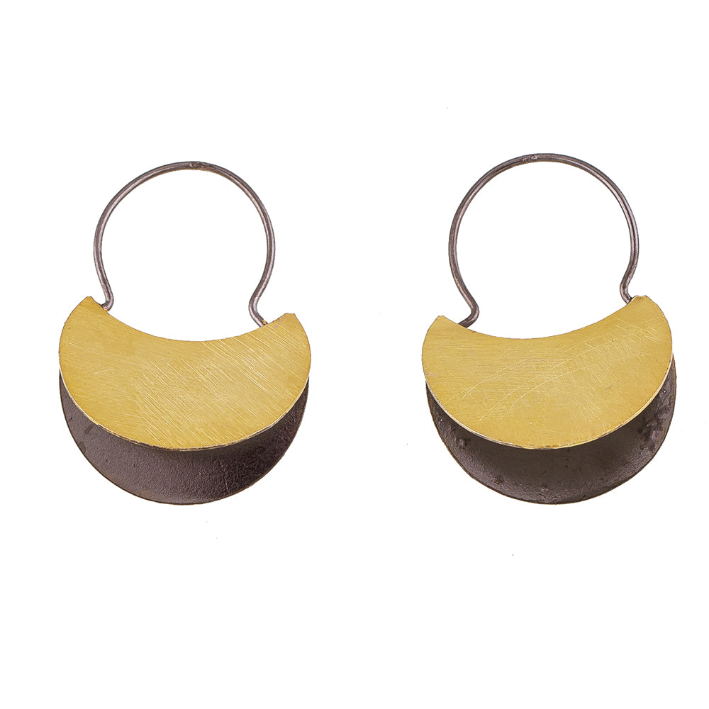 Rhodium & Gold Plate Hoop Earrings
