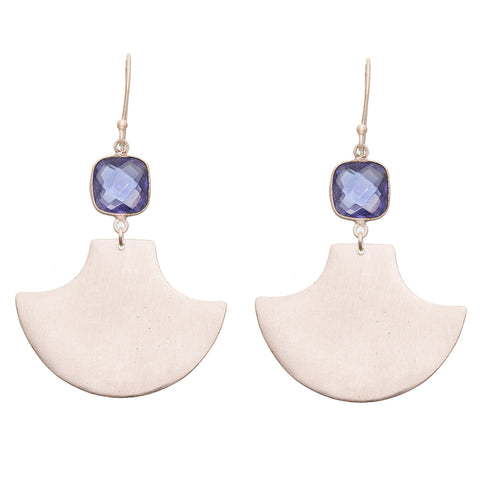 Iolite Silver Fan Earrings - SOLD OUT