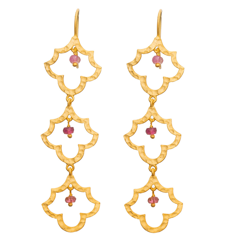 3 tiered Gold plate Pink Tourmaline Taj earrings