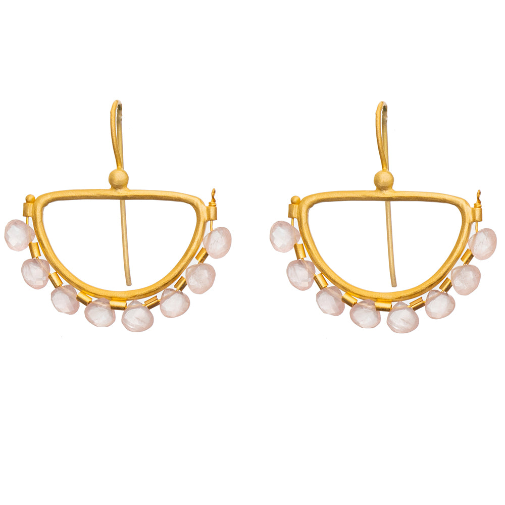 Faceted Rose Quartz Gold plate Semi Circle Earrings - 1 PAIR LEFT!