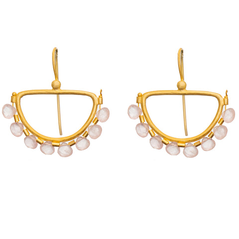 Faceted Rose Quartz Gold plate Semi Circle Earrings - PRE ORDER