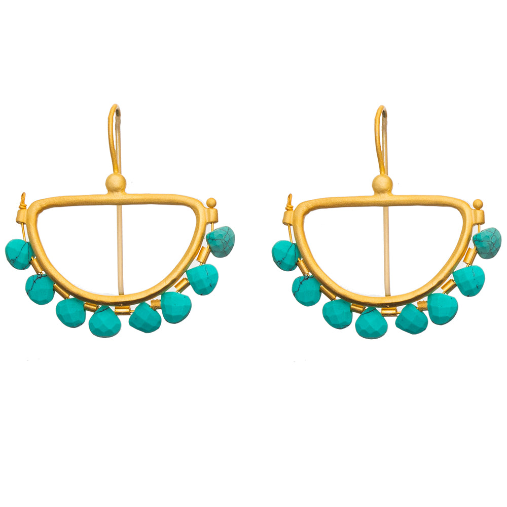 Faceted Turquoise Gold plate Semi Circle Earrings