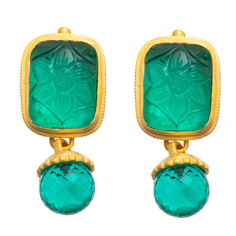 Apatite Carved Glass Stud Earrings - SOLD OUT
