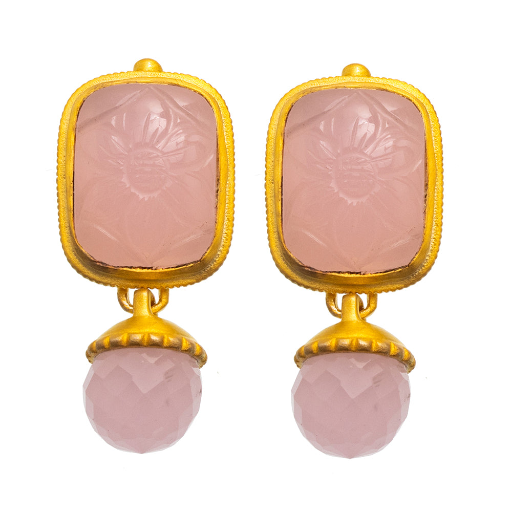 Rose Quartz Carved Glass Stud Earrings