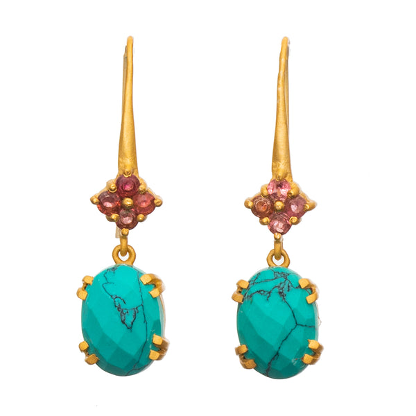 Faceted Turquoise & Pink Tourmaline Gold plate Earrings