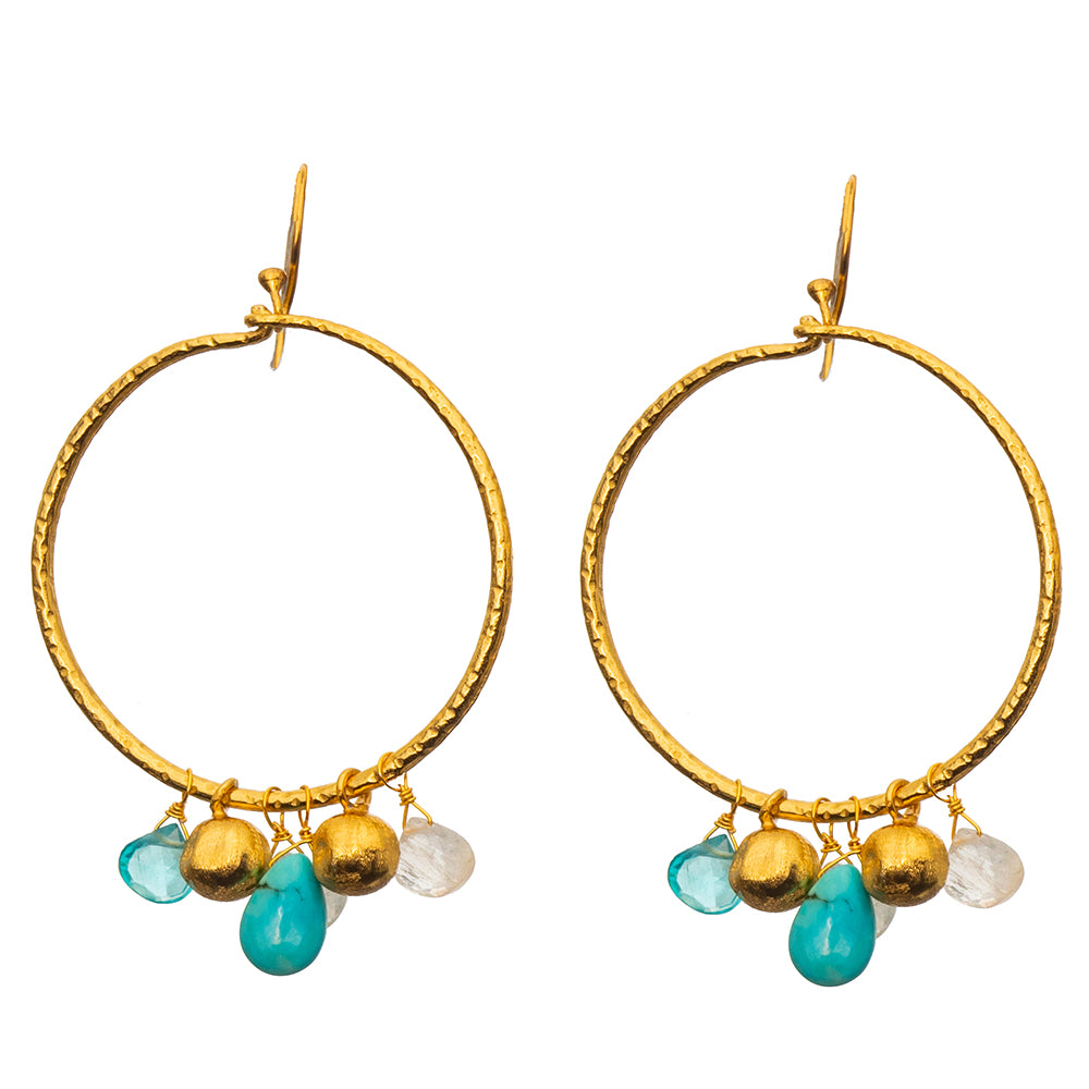 Turquoise & Apatite Hoop Earrings