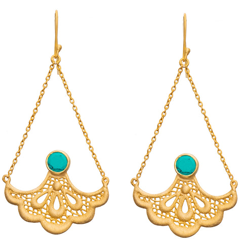 Gold plate Lotus Turquoise Earrings