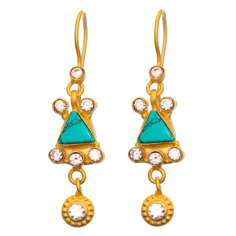 Turquoise & Cubic Zirconia Gold plate Earrings