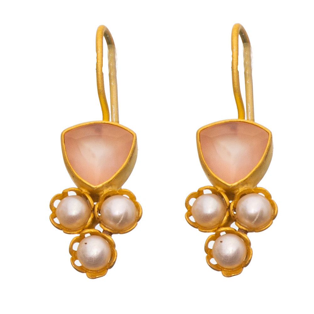 Rose Quartz & Pearl gold plate earrings