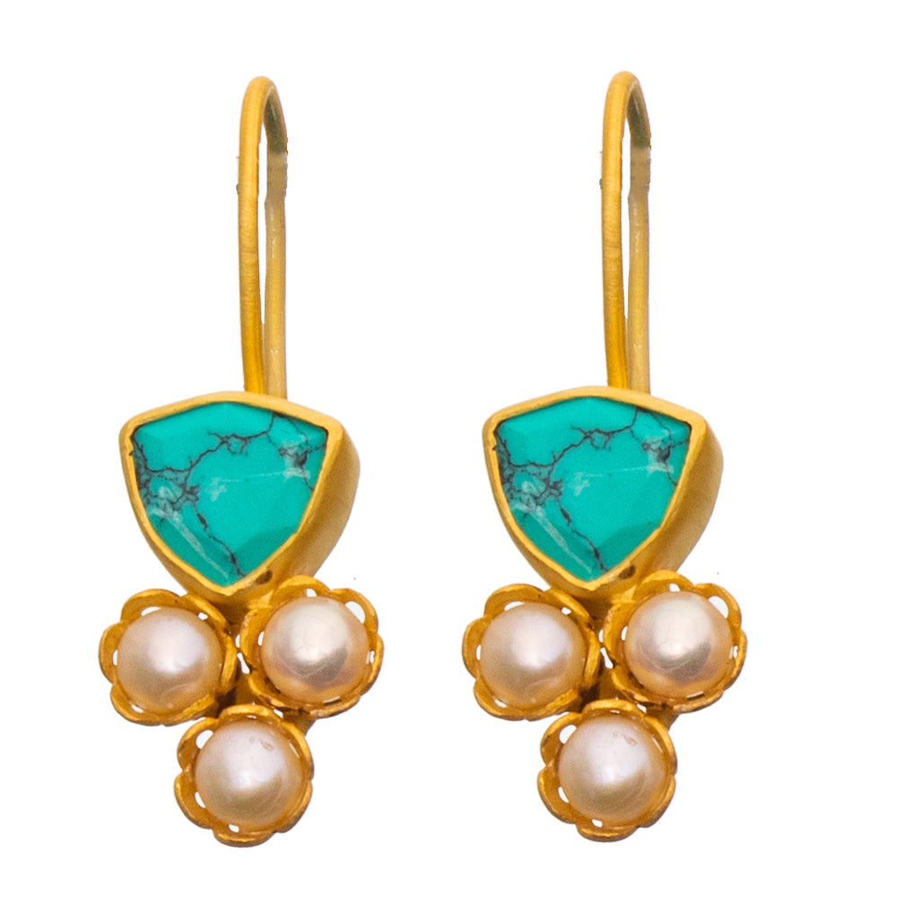 Turquoise & Pearl Gold plate Earrings