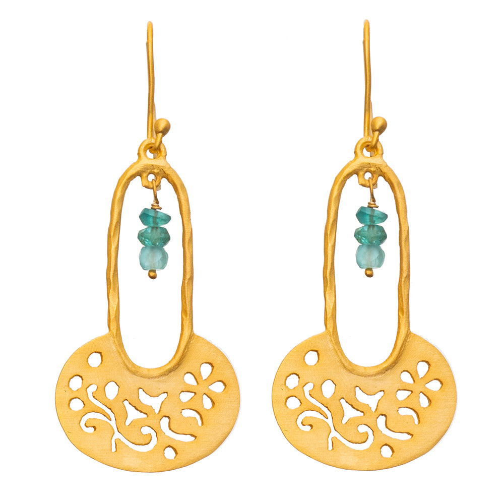 Apatite Gold plate Filigree Earrings - SOLD OUT