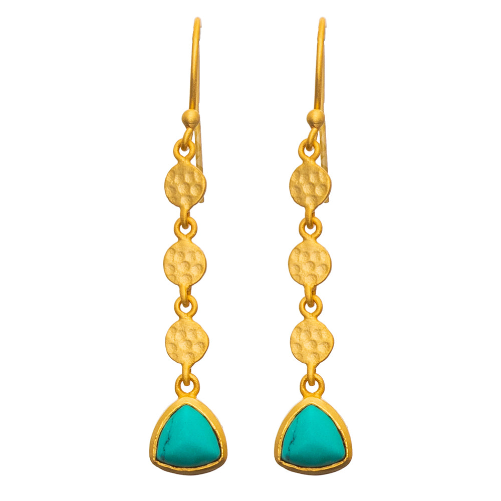 Gold plate disc Turquoise Earrings - SOLD OUT