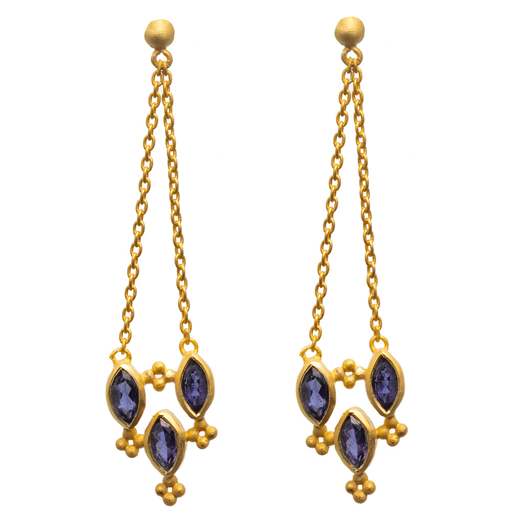 Faceted Iolite chain stud Earrings