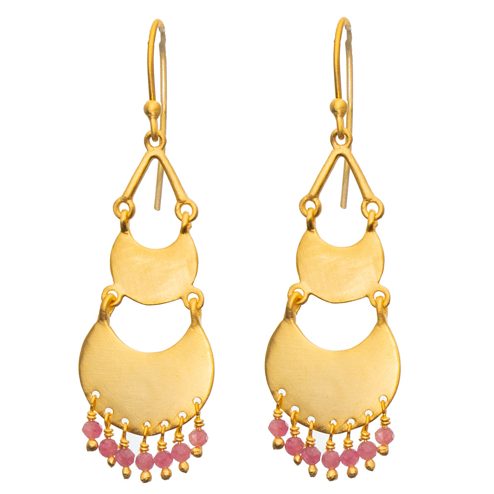 Gold plate 2 tiered Pink Tourmaline earrings