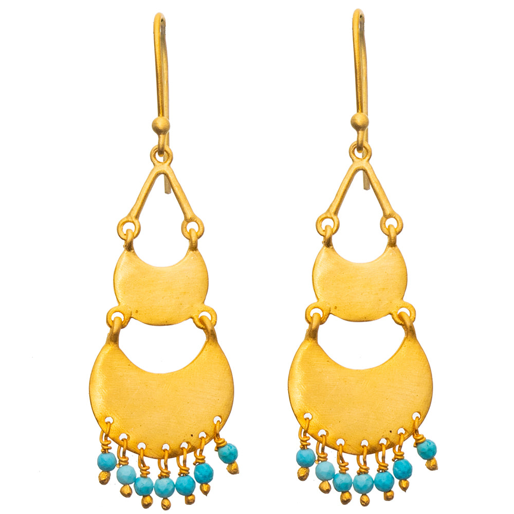 Gold plate 2 tiered Turquoise earrings