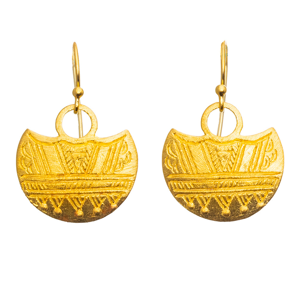 Gold plate Tuareg Shield Earrings