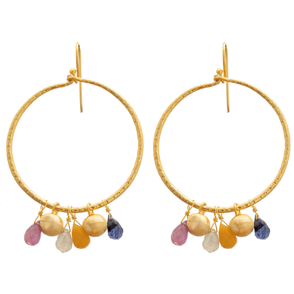 Multi Sapphire hoop earrings
