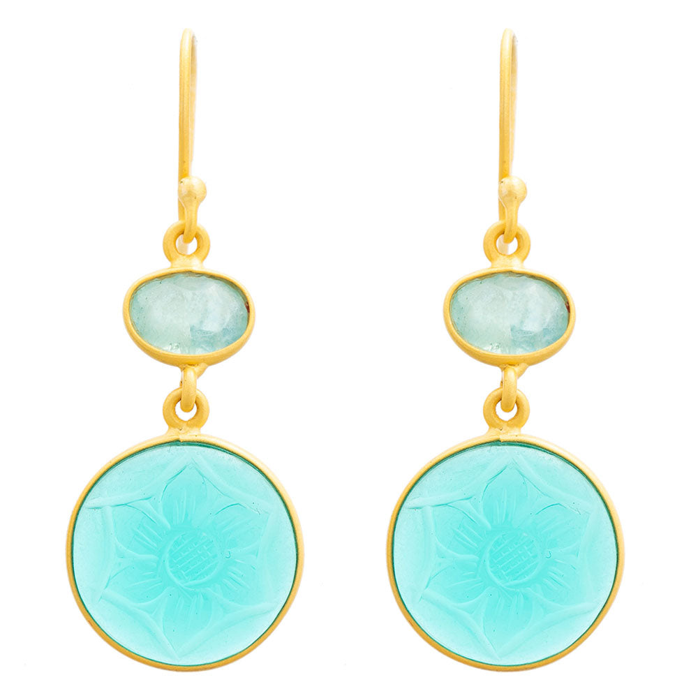 Carved Apatite glass & Blue Topaz earrings - PRE ORDER