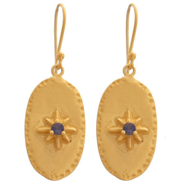 Matte gold Iolite oval earrings