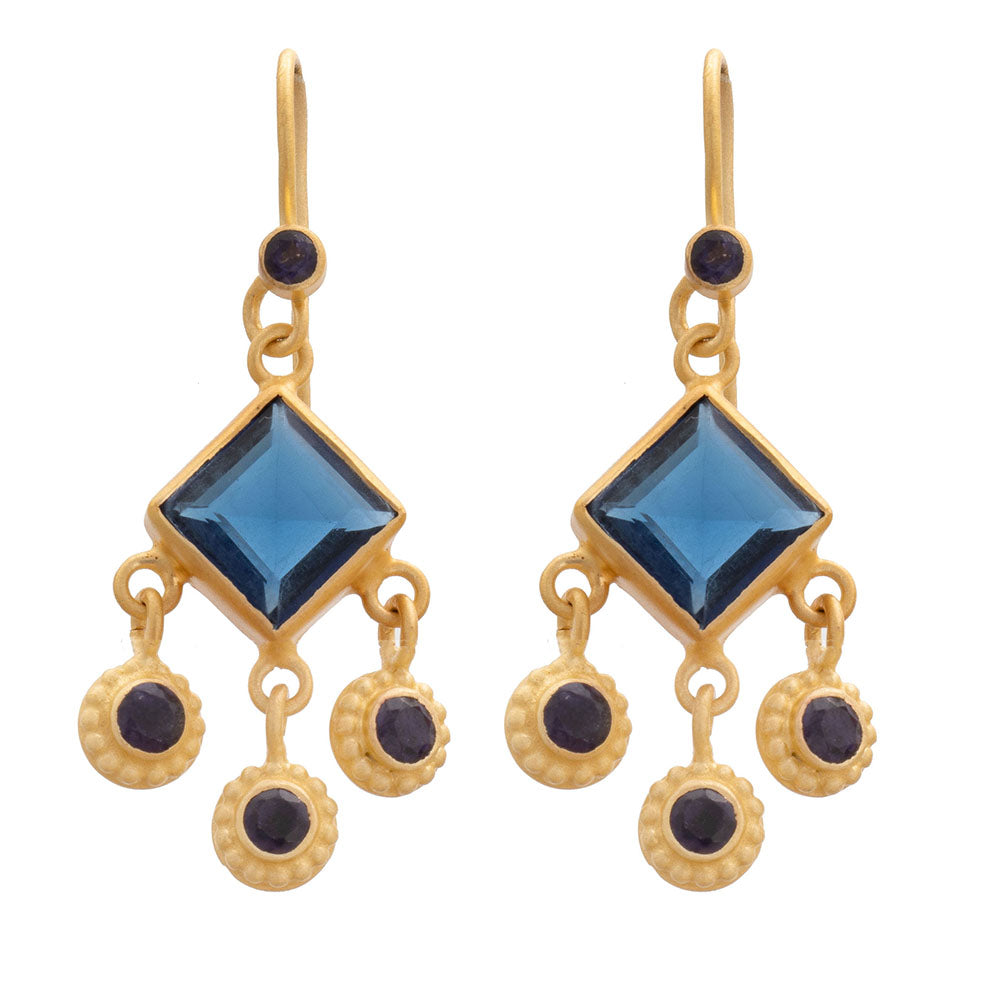 Square faceted Iolite glass gold plate earrings