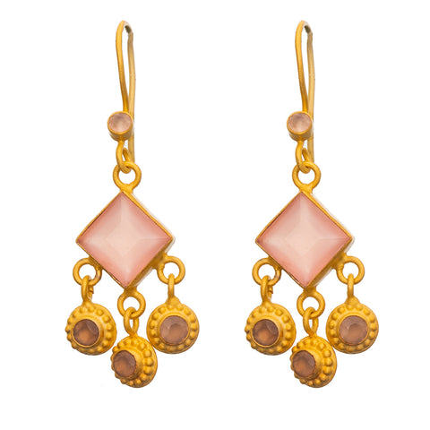 Square faceted Rose Quartz gold plate earrings