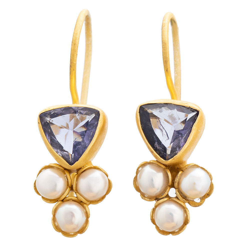 Iolite glass & Pearl gold plate earrings