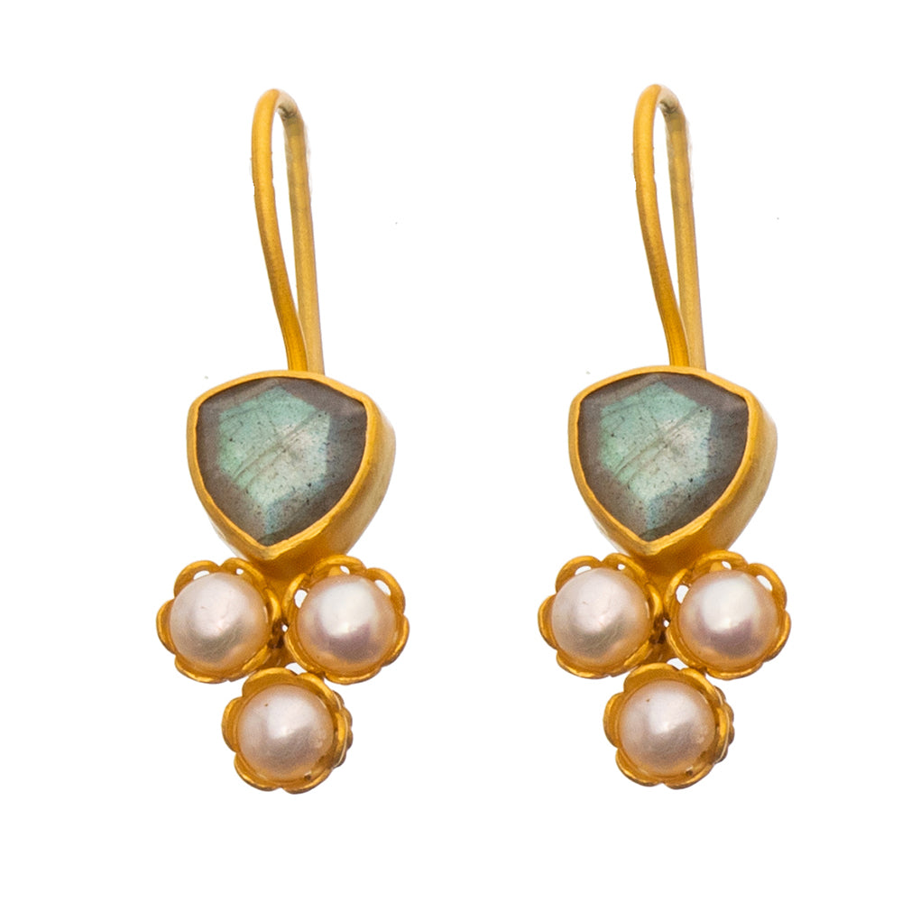 Labradorite & Pearl gold plate earrings